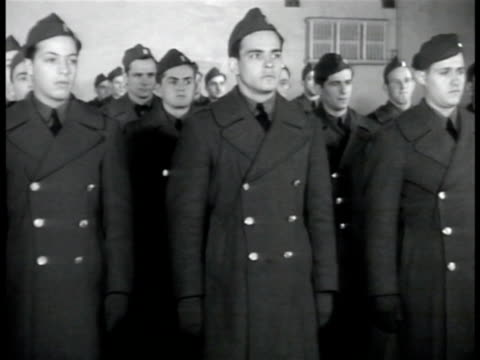 army recruits in coats standing at attention. young adult male in uniform. recruits at attention in uniform. car approaching guarded security gate at... - military recruit stock-videos und b-roll-filmmaterial