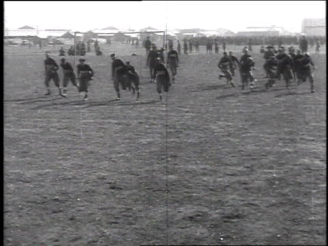 army recruits out in field playing football / camp sherman chillicothe ohio united states - chillicothe stock videos & royalty-free footage