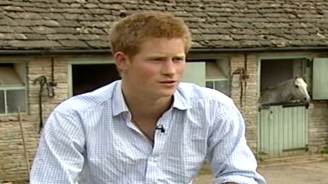 army reviews prince harry's possible deployment to iraq lib gloucestershire prince harry interview sot - gloucestershire stock videos and b-roll footage