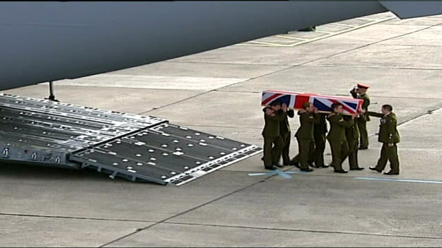 army reviews prince harry's possible deployment to iraq wiltshire raf lyneham ext various of british military carrying coffin of british soldier... - union army stock videos & royalty-free footage