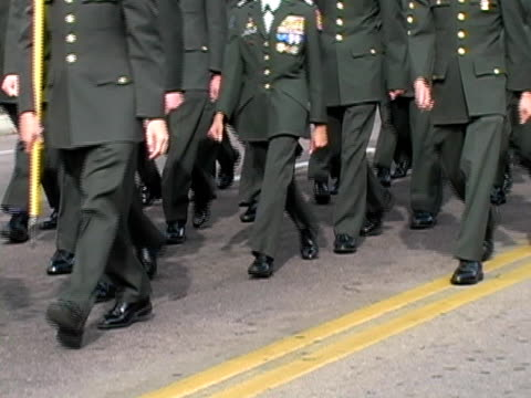 army rotc cadets marching - armistice day stock videos and b-roll footage