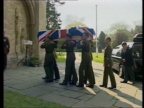 army shortages steve roberts tape recordings lib soldier's coffin draped in union jack as carried towadrs church entrance by military pallbearers - union army stock videos & royalty-free footage