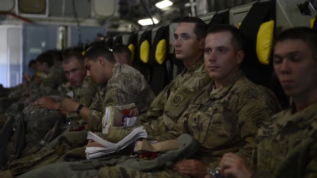 US Army soldiers assigned to the 1st Battalion 508th Parachute Infantry Regiment 3rd Brigade Combat Team Fort Bragg NC and British Soldiers assigned...