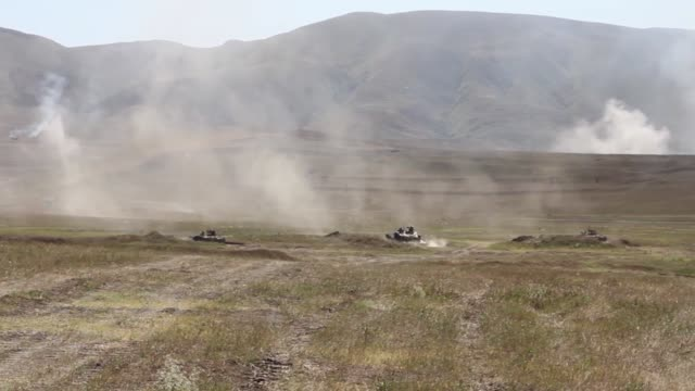 US Army soldiers conduct a motorized live fire exercise at Orpholo Firing Range Georgia during exercise Agile Spirit 9 August 2019