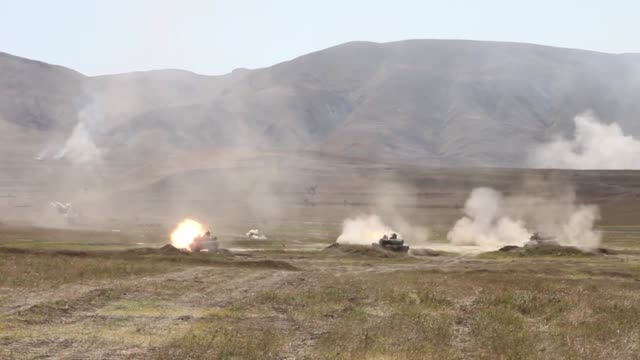 army soldiers conduct a motorized live fire exercise at orpholo firing range, georgia during exercise agile spirit, 9 august 2019. - tank stock videos & royalty-free footage