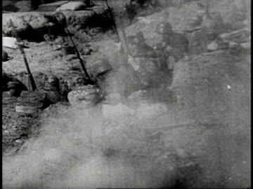 reenactment us army soldiers firing rifles, then climbing from trenches to charge / western front - world war one stock videos & royalty-free footage