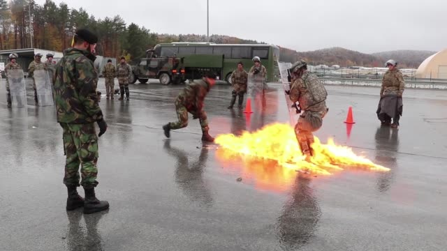 us army soldiers from the 1st squadron 89th cavalry regiment 10th mountain division take part in fire phobia training during kfor25 at the joint... - phobia stock videos and b-roll footage