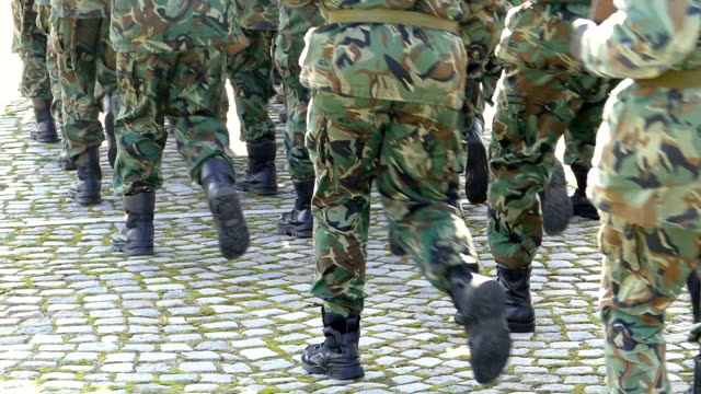 army soldiers in camouflage marching-slowmotion - army exercise stock videos and b-roll footage