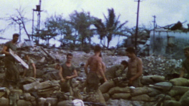 s army soldiers in sandbagged encampment / saipan mariana islands - saipan stock videos and b-roll footage