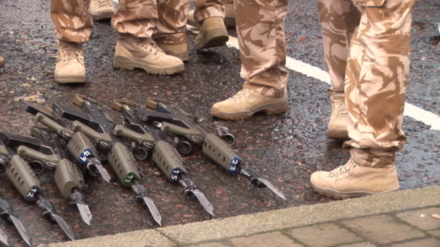 army soldiers laying down guns - hd & pal - ceasefire stock videos and b-roll footage