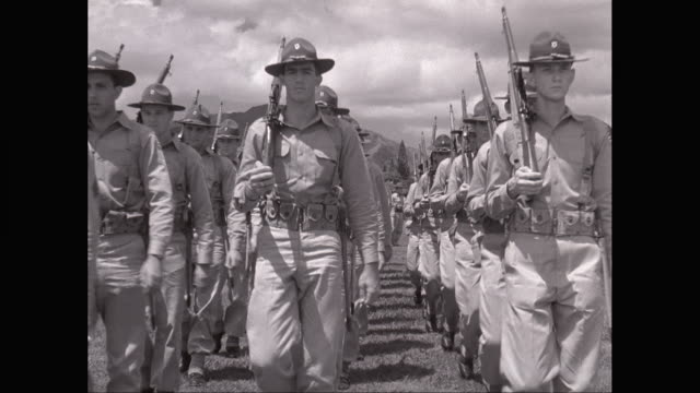 ws pan army soldiers marching in military campus / united states - pearl harbor stock videos and b-roll footage