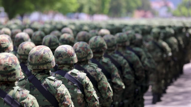 army soldiers marching on military parade - army exercise stock videos and b-roll footage