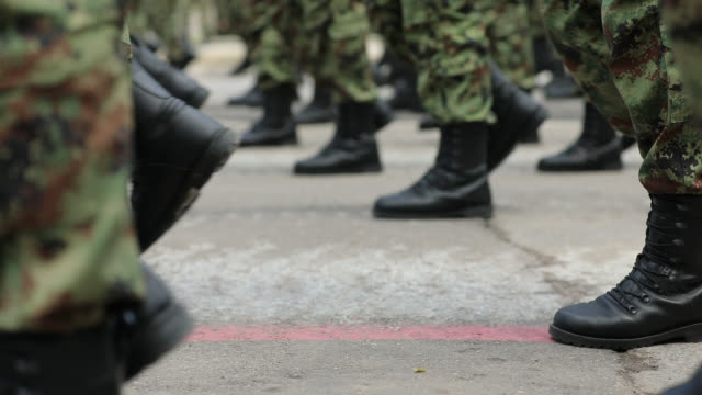 army soldiers marching on military parade - marching stock videos & royalty-free footage