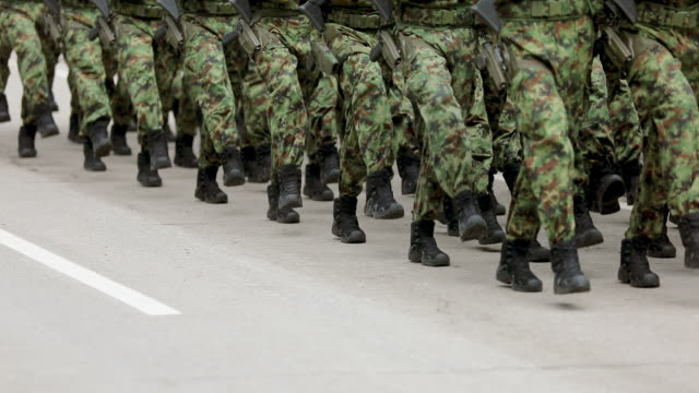 army soldiers marching on military parade - military parade stock videos and b-roll footage
