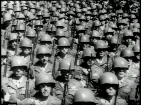 army soldiers marching / wacs marching / us navy sailors marching / rear shot waves marching toward building / usa - 1943 stock-videos und b-roll-filmmaterial
