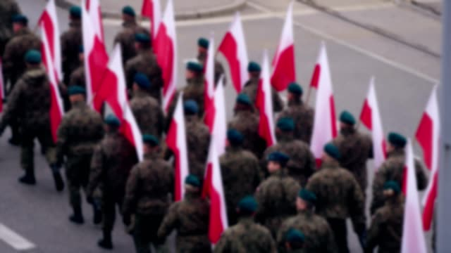 army soldiers on independence march parade. polish national holiday - military parade stock videos & royalty-free footage