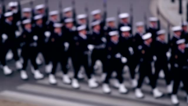 army soldiers on independence march parade. polish national holiday - marching stock videos and b-roll footage