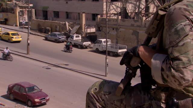 Army soldiers on patrol in Raqqa Syria