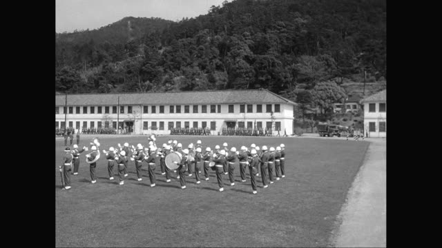 ws army soldiers playing drum and marching on military ground / united states - marching band stock videos and b-roll footage