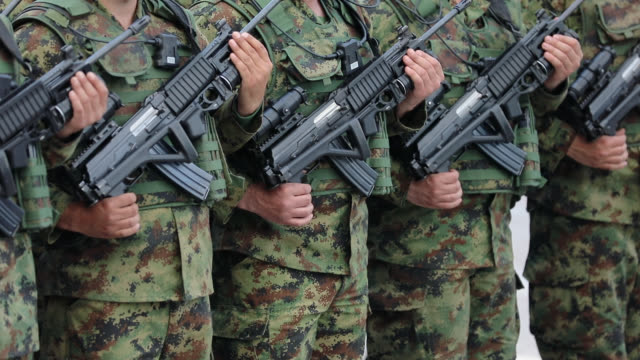 army soldiers standing and waiting the order - army stock videos & royalty-free footage
