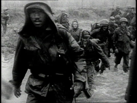 army soldiers trudging through water / south korea - korean war stock videos & royalty-free footage