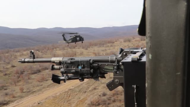 US Army soldiers with 3rd Assault Helicopter Battalion 1st Aviation Regiment 1st Combat Aviation Brigade 1st Infantry Division conduct gunnery...
