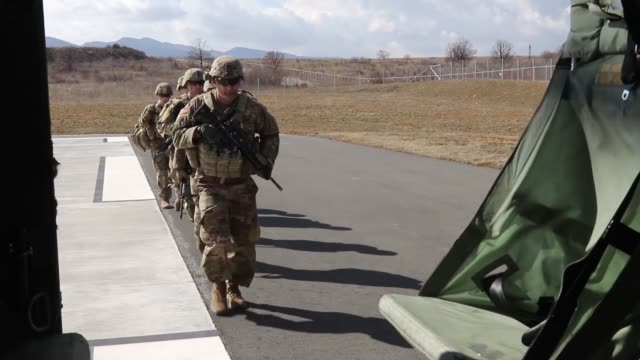 us army soldiers with 3rd assault helicopter battalion 1st aviation regiment 1st combat aviation brigade 1st infantry division conduct gunnery... - operation atlantic resolve stock videos & royalty-free footage