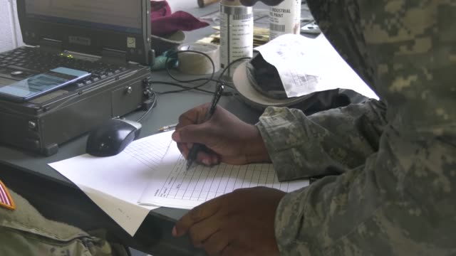 us army soldiers with the 63rd expeditionary signal battalion stationed at fort stewart georgia pilot an electronic application to help improve... - fort stewart stock videos & royalty-free footage