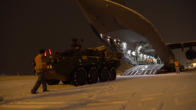us army strykers and soldiers from 3rd battalion 21st infantry regiment are loaded onto us air force c17 globemasters before being deployed to... - military exercise stock videos and b-roll footage