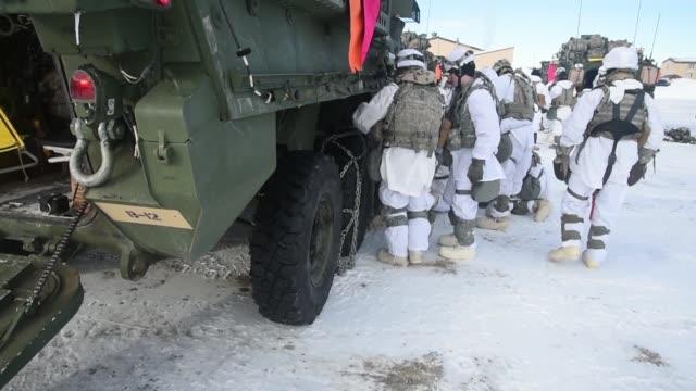 US Army Strykers and Soldiers from 3rd Battalion 21st Infantry Regiment travel to Clear Air Force Station from Fort Wainwright Alaska in a M1126...