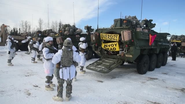 army strykers and soldiers from 3rd battalion 21st infantry regiment travel to clear air force station from fort wainwright, alaska, in a m1126... - military land vehicle stock videos & royalty-free footage