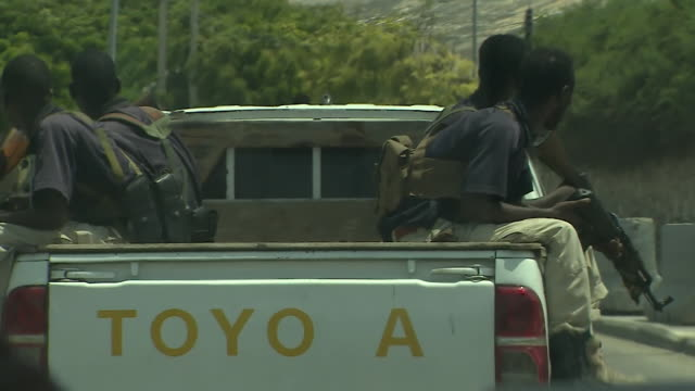 Army troops patrolling the streets of Mogadishu Somalia