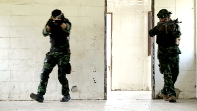Army troops raided in abandoned buildings.