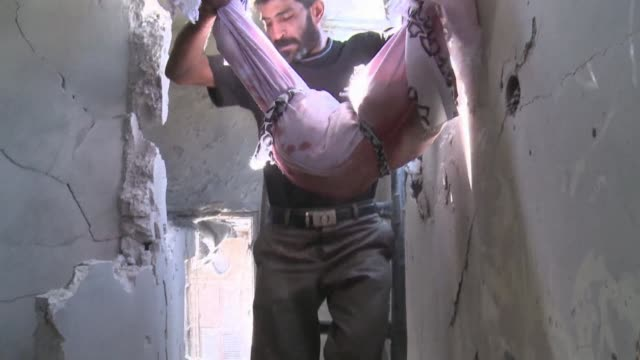 Army troops shelled several districts in Aleppo VOICED Syria children on September 21 2012 in Aleppo Syria