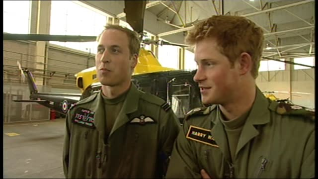 vídeos y material grabado en eventos de stock de army's fond and final farewell to the lynx helicopter lib / shropshire raf shawbury int prince william and prince harry interview sot - army
