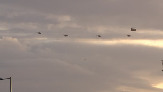 Army's fond and final farewell to the Lynx helicopter London Helicopters along in cloudy sky
