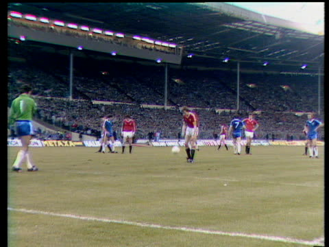 arnold muhren scores penalty, brighton and hove albion vs manchester united, 1983 fa cup final replay, wembley, london - final round stock videos & royalty-free footage