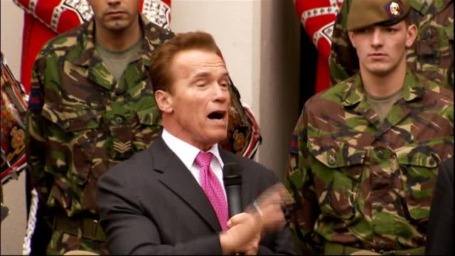 Arnold Schwarzenegger and David Cameron visit Wellington Barracks Arnold Schwarzenegger speech SOT Thanks Cameron for the invitation / I'm always...