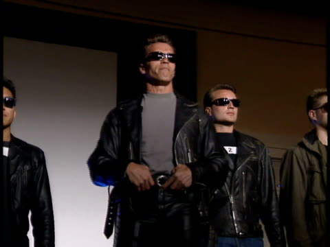 arnold schwarzenegger announces there will be another movie. - terminator stock videos & royalty-free footage