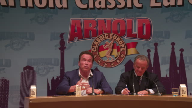 Arnold Schwarzenegger answers a question about why there is no female bodying building competition at Arnold Classic 2017 Europe held at the...