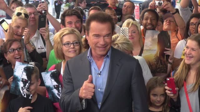 arnold schwarzenegger at 'good morning america' greets fans on june 25 2015 in new york city - good morning america stock videos and b-roll footage