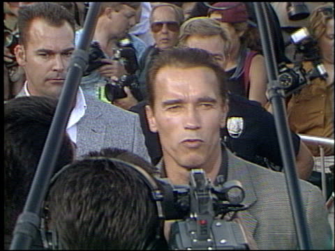 arnold schwarzenegger at the 'last action hero' premiere on june 13, 1993. - premiere stock videos & royalty-free footage