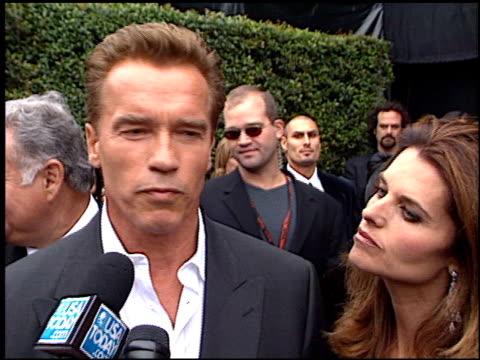 Arnold Schwarzenegger at the World Stunt Awards at Barker Hanger in Santa Monica California on May 20 2001