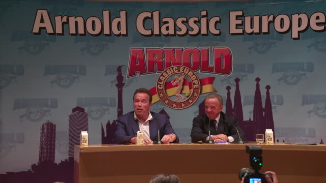 arnold schwarzenegger explains why barcelona was selected to host the event at a press conference for arnold classic 2017 europe held at the... - arnold schwarzenegger stock-videos und b-roll-filmmaterial
