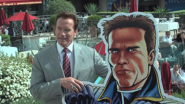 Arnold Schwarzenegger in Cannes promoting The Governator a new animated action TV series created by Stan Lee of Marvel at the MIP TV Conference at...