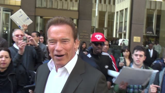 Arnold Schwarzenegger leaving SiriusXM Satellite Radio mobbed by fans in Celebrity Sightings in New York