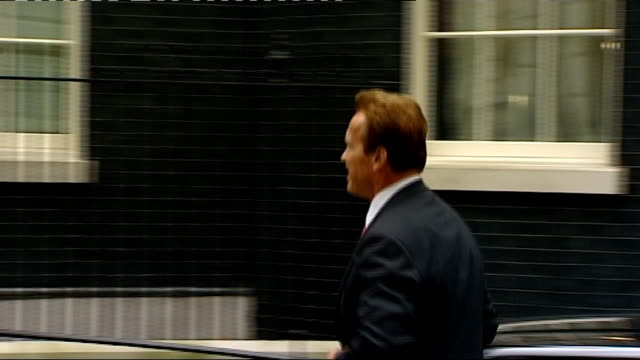 Arnold Schwarzenegger meets David Cameron at Number 10 ENGLAND London Downing Street EXT Arnold Schwarzenegger arriving in car and along to shake...