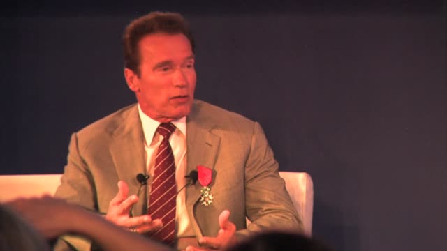 vidéos et rushes de arnold schwarzenegger on his new animated series 'the governator' on being governor of california and on future projects at the mip tv conference day... - arnold schwarzenegger
