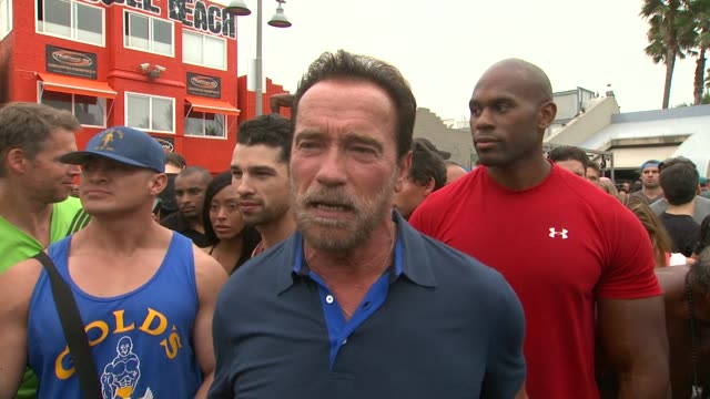 vidéos et rushes de interview arnold schwarzenegger on the launch of the arnold series with musclepharm muscle beach his commitment to fitness at arnold schwarzenegger... - arnold schwarzenegger