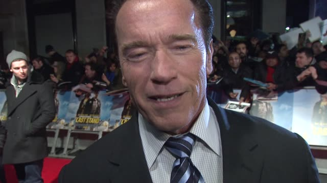 interview arnold schwarzenegger on the reaction of the crowd and being back in action at 'the last stand' uk premiere at empire leicester square on... - arnold schwarzenegger stock-videos und b-roll-filmmaterial